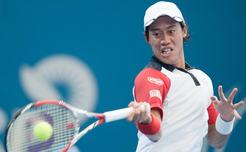 ‹ÑDŒ/Kei Nishikori (JPN), JANUARY 4, 2014 - Tennis : Kei Nishikori of Japan in action during the men's singles semi-final of the Brisbane International tennis tournament match at the Queensland Tennis Centre in Brisbane, Australia. (Photo by AFLO)